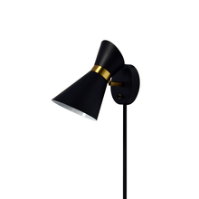 Dainolite 1678W-BK-VB - 1LT Wall Lamp, Black & Vintage Bronze Finish